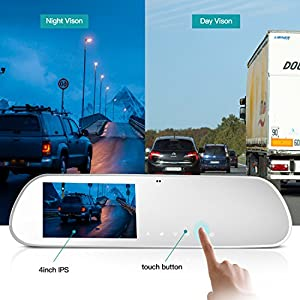 TryAce T9P Dual Dash Cam,FHD 1080P Rearview Mirror Backup Camera 4'' IPS Screen With G-Sensor,WDR,Loop Recording, Super Nights Vison Rear View Reverse Front and Rear Car Dash Camera