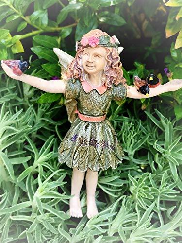 Dollhouse Mini Fairy Girl Courtney w/Birds Pick Miniature Magic Scene Supplies Your Fairy Garden - Outdoor House Decor