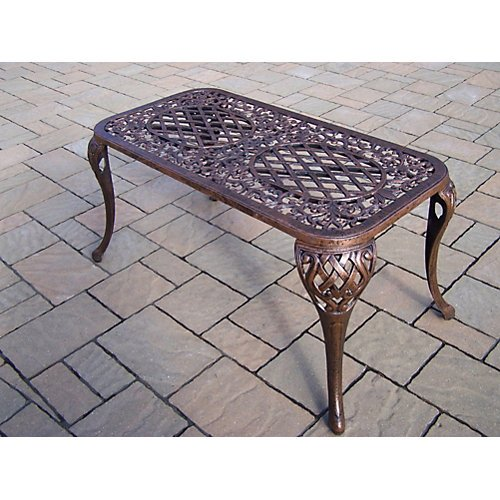 Oakland Living Mississippi Cast Aluminum Cocktail Table, 35-Inch by 18-Inch, Antique Bronze ()