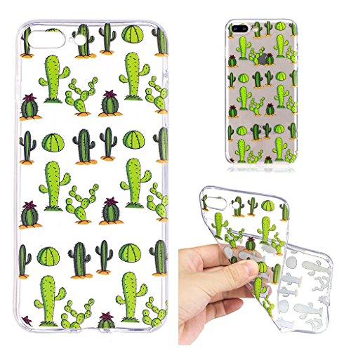 Per iPhone 8 Plus Custodia ,Per iPhone 7 Plus Custodia ,ZXLZKQ Cactus Trasparente Morbido TPU Silicone Coperchio Skin Shell Caso Cover Bumper Protezione Case Per iPhone 8 Plus / iPhone 7 Plus