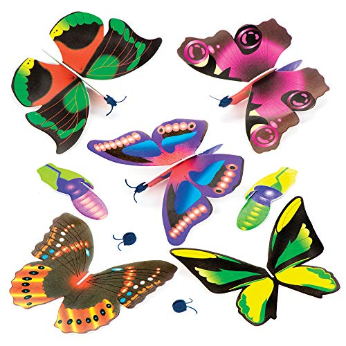 Baker Ross P1071 Butterfly Gliders – Pack of 6, Flying Toys for Kids Party Bag Fillers, Pocket Money Gifts and Small…