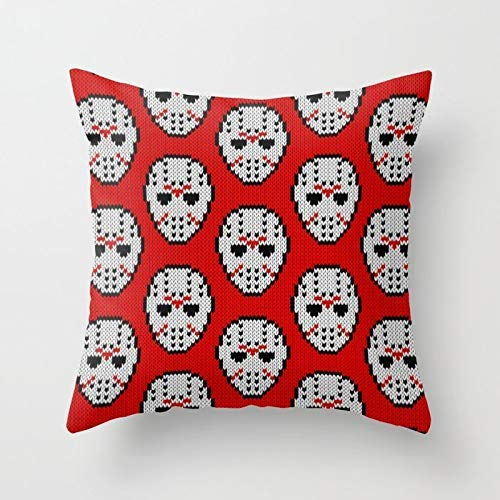 Throw Pillow Cover Soft Cotton Decorative Pillow Cover Sofa Cushion Cover Home Decoration 16x16 inch - Knitted Jason Hockey Mask Pattern Yf ()