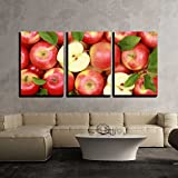 wall26-3 Piece Canvas Wall Art - Group of Red Apples with Their Leaves - Modern Home Decor Stretched and Framed Ready to Hang - 24''x36''x3 Panels