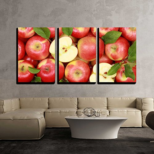 Art Apple - wall26-3 Piece Canvas Wall Art - Group of Red Apples with Their Leaves - Modern Home Decor Stretched and Framed Ready to Hang - 16