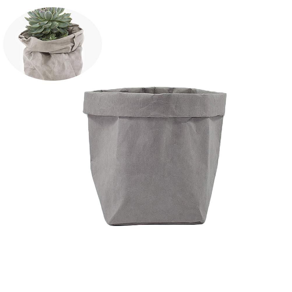 Yardwe Lavable Papier Kraft à Nourriture réutilisables Sac en Papier Organiseur Pot de Fleurs Pot de Fleurs Sacs Coque pour décoration et de Stockage–Taille S (Gris)