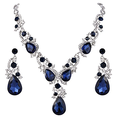 Crystal Cluster Drop Necklace - BriLove Wedding Bridal Necklace Earrings Jewelry Set Multi Teardrop Cluster Crystal Statement Necklace Dangle Earrings Set Navy Blue Sapphire Color Silver-Tone