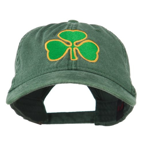 St. Patrick's Day Clover Embroidered Washed Cap - Dark Green OSFM