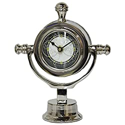 Beachcombers 7.5 x 3 x 8.25 inch Stainless Steel Nautical Desk Clock