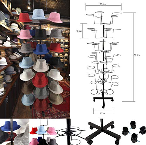 (Hat Display 7 Tier & 35 Hat Racks for Storefront, Cowboy Hats, and Baseball Hats Stand Rack by McWay (Hat Display))