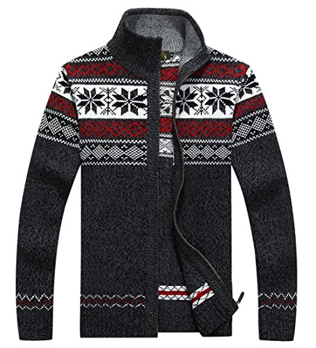 Men's Winter Stand Collar Knitted Snowflakes Pattern Zip Up Cardigan Sweater (Gray, (Lined Cardigan Sweater)