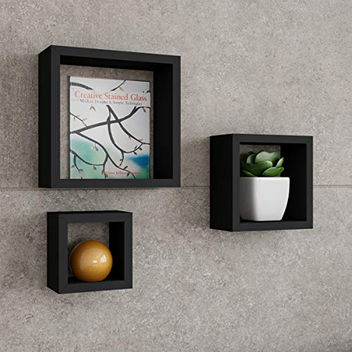 Lavish Home Floating Shelves- Cube Wall Shelf Set with Hidden Brackets, 3 Sizes to Display Decor, Books, Photos, More-Hardware Included (Black)