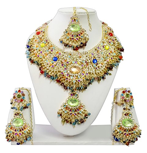 Indian Bollywood Jewelry Set Ethnic Gold plated Necklace set Earrings Maang Tikka JS9004 Multi