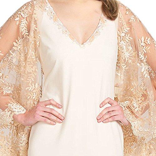 Gold Ivory Gown Dress Evening Badgley Cape Lace Mischka Sleeve zSFPRq