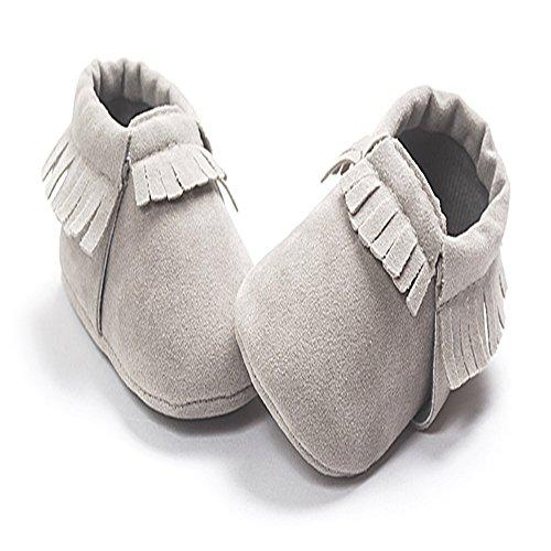 R&V Unisex Infant Baby Boys' Girls' Moccasins Soft Sole Tassels Prewalker Anti-Slip Toddler Shoes (L:12~18 Months, Grey)