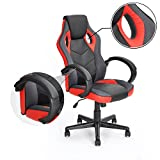 Computer Chair Gaming Chair Racing Chair Coavas Office High Back PU Leather Computer Chair Executive Swivel Task Desk Chair( Black+ red)