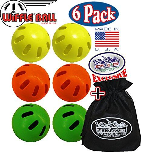 Wiffle Balls Yellow, Green & Orange Official Size Baseballs Mattys Toy Stop Exclusive Gift Set Bundle with Storage Bag - 6 Pack (2 Yellow, 2 Green & 2 Orange)