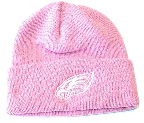 Reebok Womens Nfl Eagles (NFL Licensed Philadelphia Eagles Cuffed Pink Tonal Knit Beanie Hat Cap Lid Toque)