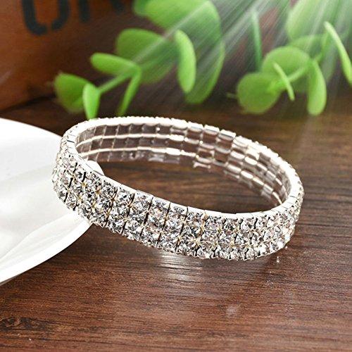 Wintefei Multirow Rhinestone Stretch Bracelet Bangle Cuff Wedding Bridal Gift for Women - 3 Row ()