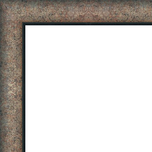 27x41 - 27 x 41 Distressed / Aged Silver with Black Lip Solid Wood Frame with UV Framer's Acrylic & Foam Board Backing - Great For a Photo, Poster, Painting, Document, or Mirror by The Frame Shack