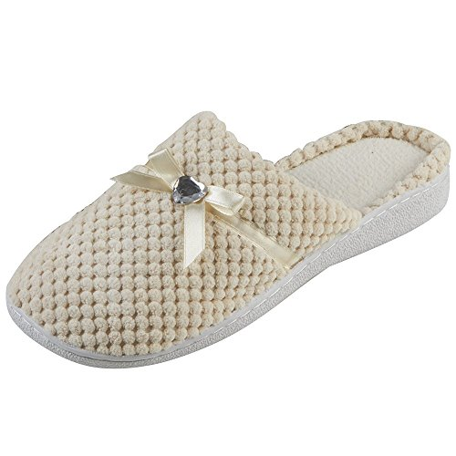 Ladies Forever Dreaming Mule Slippers Heart Diamante & Satin Bow In 3 Colours Cream