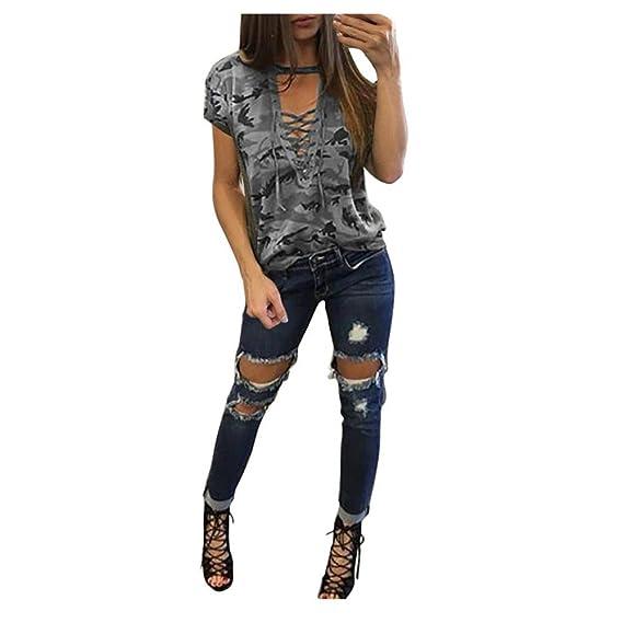 QinMM Camiseta Slim Camuflaje Mujer, V Cuello Blusa Manga Corta (Gris, S)