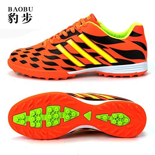 Xing Lin Fußballschuhe Fußball-Schuhe Männer Ag Fußball Schuhe Spike Erwachsenen Training Spiel Künstliche Grünland Grundschule Kinder Männer, 36,8003-2 Gebrochen Nagel Orange