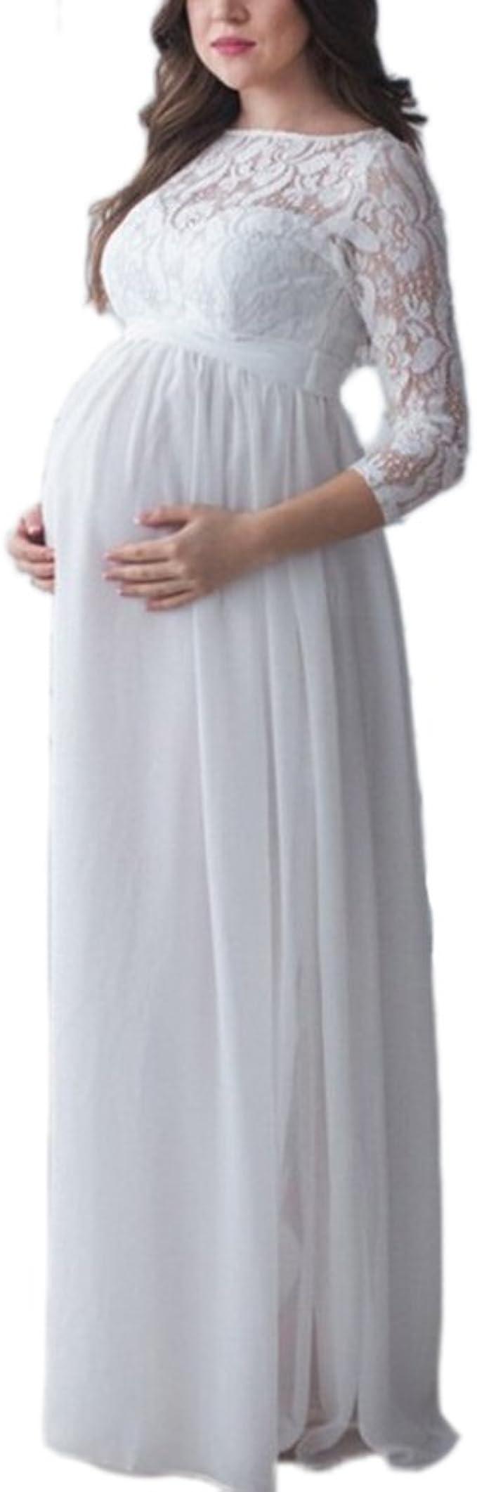 keephen Vestido Largo Maxi de Encaje Maternidad Mujeres Embarazadas Vestido de fotograf/ía apoyos Ropa Amigo//Amante Vestido de Noche del Partido