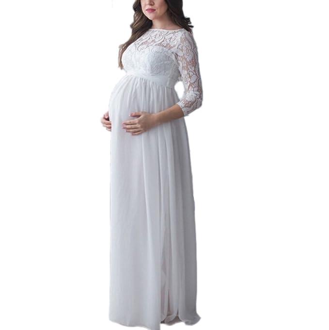 huateng Vestido Largo de Encaje de Gasa de Las Mujeres Embarazadas Vestido Elegante de cóctel de