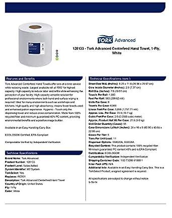 Amazon.com: Tork Advanced 120133 Centerfeed Hand Towel, 1-Ply, 8.25