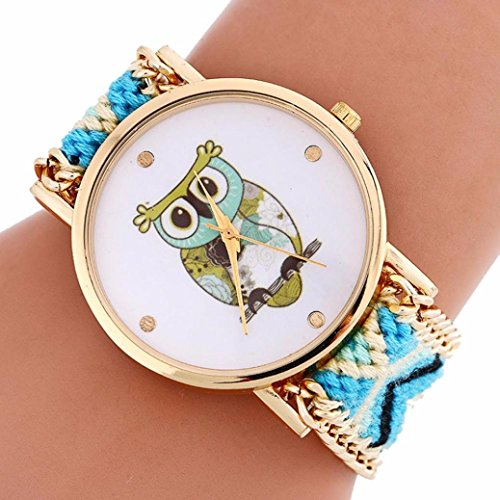 AMA(TM) Women Folk Style Owl Pattern Dial Wristwatch Knitting Quartz Bracelet Watch Gifts (Light Blue)