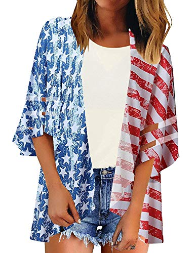 Womens Kimono Cardigan Lightweight 3/4 Sleeve Open Front Loose 4th of July Cardigans (XX_Large, Flag1)