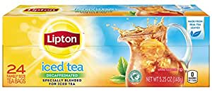 Lipton Black Iced Tea Bags, Decaffeinated Family Size 24 ct (Pack of 12)