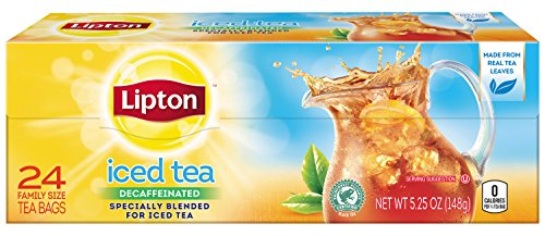 Lipton Family-Sized Black Iced Tea Bags, Decaffeinated Unsweetened 24 ct (Pack of 12) (Lipton Sweet Tea Bags)