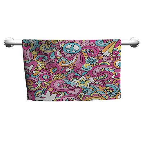 Groovy Girls Vanity - duommhome Groovy Beach Activity Bath Towel Psychedelic Complex Funky Decorative Patterns Stars Back to 60s Fun Retro Artsy Print W10 x L39 Multi