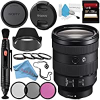 Sony FE 24-105mm f/4 G OSS Lens SEL24105G + 77mm 3 Piece Filter Kit + 77mm Macro Close Up Kit + 256GB SDXC Card + Lens Pen Cleaner + Fibercloth + Lens Capkeeper + Deluxe Cleaning Kit Bundle