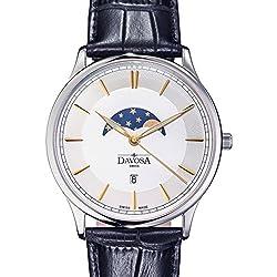 Davosa Swiss Made Quartz Movement Men's Leather Strap Wrist Analog Watch Flatline Phase Of Moon 16249635
