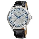 Joshua & Sons Men's 'Diamond Quartz Metal and Leather Dress Watch, Color:Black (Model: JS-19-SS)