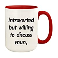 Introverted But Willing To Discuss Mun - 15oz Ceramic White Coffee Mug Cup, Red
