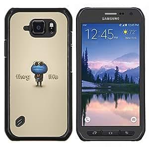 Qstar Arte & diseño plástico duro Fundas Cover Cubre Hard Case Cover para Samsung Galaxy S6Active Active G890A (Thug Life Cookie Monster)