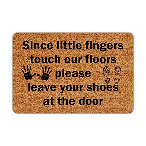 Joelmat Since Little Fingers Touch Our Floors Please Leave Your Shoes Entrance Non-Slip Outdoor/Indoor Rubber Door Mats for Front Door/Garden/Kitchen/Bedroom 23.6
