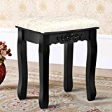 MD Group Makeup Dressing Stool Wood Black Thick Cushioned Seat Bedroom Vanity Furniture