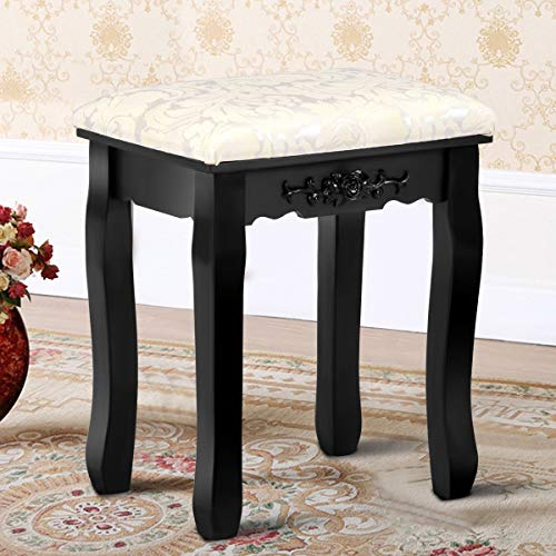 MD Group Makeup Dressing Stool Wood Black Thick Cushioned Seat Bedroom Vanity Furniture by MD Group
