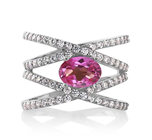 (Gem Stone King 2.23 Ct Oval Pink Mystic Topaz 925 Sterling Silver Criss Cross Women's Ring (Size 9))
