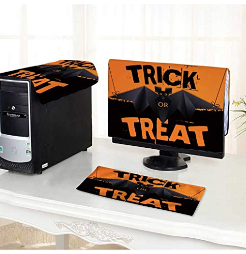 PRUNUS Keyboard dust Cover Computer 3 Pieces Hanging Origami bat and Trick or Treat Halloween Text Computer dust Cover /25
