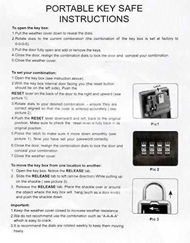 Key Lock Box Storage Safe Box Realtor 4-Digit Combination Lock Box Padlock Security for Home Garage School Spare House Car Keys by xixiw (Image #7)