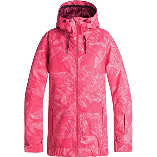 (Roxy Womens Valley - Snow Jacket - Women - M - Pink Tea Berry_Washed Floral M )