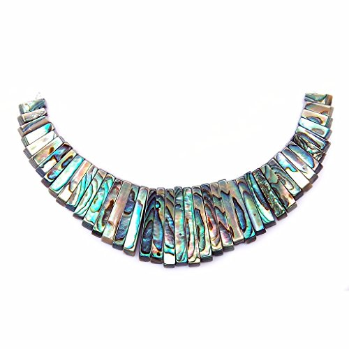 Rectangle Bead Necklace - Justinstones Natural Abalone Shell Rectangle Graduated 41pcs Beads Set