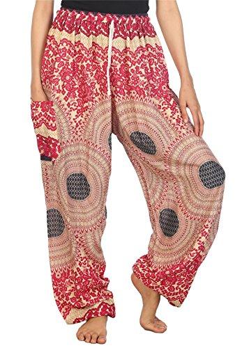 - Lofbaz Women's Drawstring Rose 2 Harem Boho Genie Pants Pink L