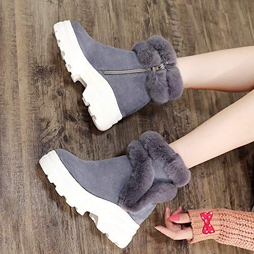 Neige Velours tube Épaisses Bottes Pour Dames Chaussures n Renforcées À Compensées C Semelles Gris De L'intérieur Neige En Femmes Mi 4Xq1wxA