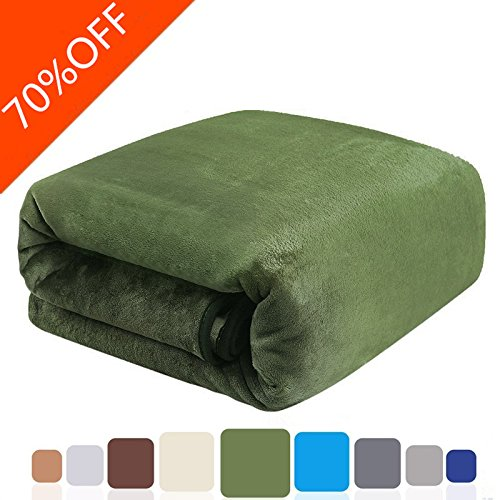 Balichun Bed Blanket All Year Round Super Soft Warm Fuzzy Fluffy Lightweight Fleece Blankets Twin/Queen/King Size (Green, Twin)